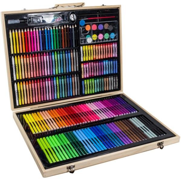 Niewiarygodnie Zestaw artystyczny do malowania w drewnianej walizce 245 elementów JK02